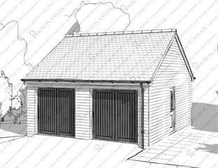 Garage 17 Double With 2 Doors Timber Frame